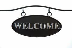 Välkomnande för stålplatta Fotografering för Bildbyråer