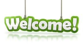 Välkomnande! grön ordtext på vit bakgrund Royaltyfri Bild