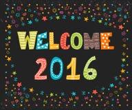 Välkomnande 2016 lyckligt nytt år gullig hälsning för kort lyckliga ferier Royaltyfri Fotografi