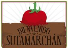 Välkomnande tecken till den Tomatina festivalen i Sutamarchan, Colombia, vektorillustration vektor illustrationer