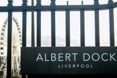 Välkomnande till Albert Dock Arkivfoto