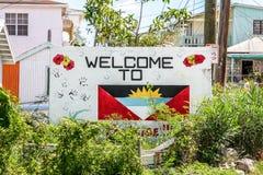 Välkomnande till Antigua Arkivfoton