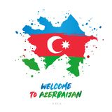 Välkomnande till Azerbajdzjan askfat Flagga och översikt av landet royaltyfri illustrationer