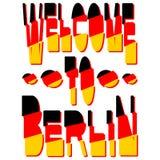 Välkomnande till Berlin - inskrift i färgerna av den tyska flaggan stock illustrationer