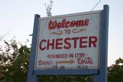 Välkomnande till Chester Sign Royaltyfri Foto