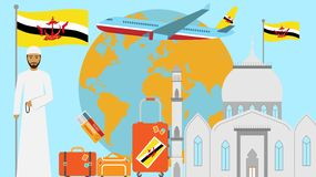 Välkomnande till den Brunei vykortet Lopp- och resabegrepp av den islamiska landsvektorillustrationen med nationsflaggan av Brune stock illustrationer