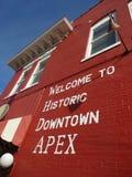 Välkomnande till den historiska i stadens centrum toppen, North Carolina Arkivfoton
