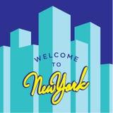 Välkomnande till den New York vektormallen Royaltyfria Bilder