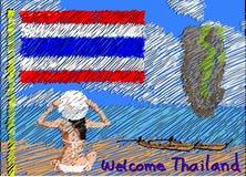 Välkomnande till den Thailand vykortet Arkivfoto