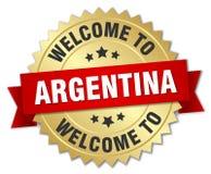 välkomnande till det Argentina emblemet stock illustrationer