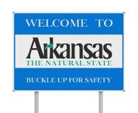 Välkomnande till det Arkansas vägmärket Arkivfoton