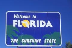 Välkomnande till det Florida tecknet fotografering för bildbyråer
