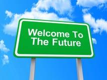 Välkomnande till det framtida tecknet Arkivbild