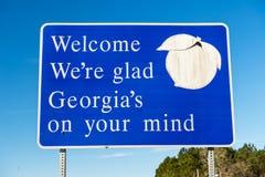 Välkomnande till det Georgia tecknet royaltyfri fotografi