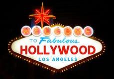 Välkomnande till det Hollywood tecknet arkivfoto