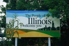 Välkomnande till det Illinois tecknet royaltyfri fotografi