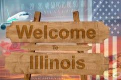 Välkomnande till det Illinois tillståndet i USA tecknet på trä, travelltema Royaltyfri Bild