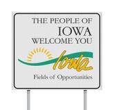 Välkomnande till det Iowa vägmärket royaltyfri illustrationer