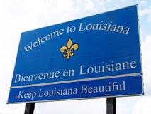 Välkomnande till det Louisiana vägmärket Arkivbilder