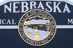 Välkomnande till det Nebraska tecknet Royaltyfri Fotografi
