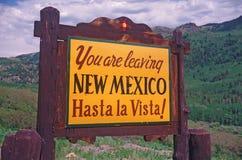 Välkomnande till det New Mexico tecknet Royaltyfria Foton