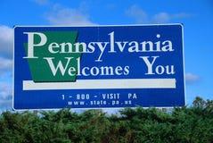 Välkomnande till det Pennsylvania tecknet Royaltyfri Fotografi