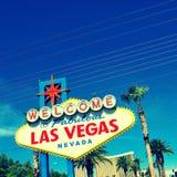 Välkomnande till det sagolika Las Vegas tecknet Fotografering för Bildbyråer