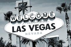Välkomnande till det sagolika Las Vegas tecknet Arkivbild