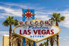 Välkomnande till det sagolika Las Vegas tecknet, Las Vegas, Nevada, USA Fotografering för Bildbyråer