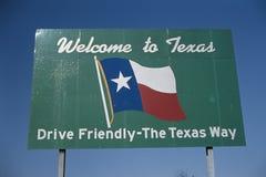 Välkomnande till det Texas tecknet Arkivfoto