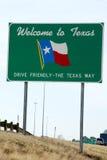 Välkomnande till det Texas tecknet Arkivfoton