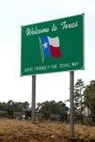 Välkomnande till det Texas tecknet Fotografering för Bildbyråer