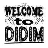 Välkomnande till Didim Är en liten stad, en populär sjösidaferiesemesterort och ett område av det Aydın landskapet på den Aegean stock illustrationer