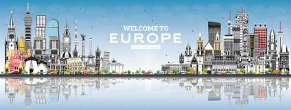 V?lkomnande till Europa horisont med Gray Buildings och bl? himmel stock illustrationer