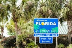 Välkomnande till Florida - Sunshine state Arkivbilder