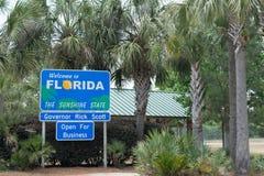 Välkomnande till Florida - Sunshine state Arkivbild