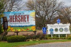 Välkomnande till Hershey Pennsylvania tecken Royaltyfri Bild