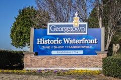 Välkomnande till historiska Georgetown Royaltyfri Fotografi