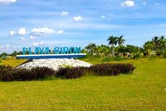 Välkomnande till historiska Playa Giron, Kuba Royaltyfria Foton