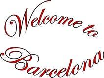 Välkomnande till illustrationen för Barcellona texttecken Arkivfoto