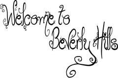 Välkomnande till illustrationen för Beverly Hills California textsogm stock illustrationer