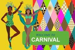 Välkomnande till karnevalkortet r vektor illustrationer