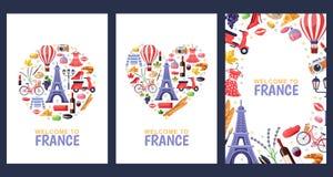 Välkomnande till kort för Frankrike hälsningsouvenir, tryck- eller affischdesignmall Lopp till den Paris lägenhetillustrationen stock illustrationer