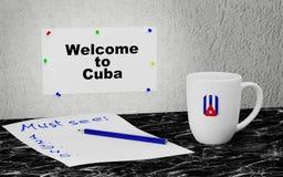 Välkomnande till Kuban stock illustrationer