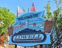 Välkomnande till Lowell, Massachusetts, USA royaltyfri foto