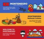 Välkomnande till Montenegro affischer med nationella kokkonst och dragningar royaltyfri illustrationer
