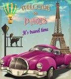 Välkomnande till Paris den retro affischen vektor illustrationer