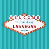 Välkomnande till sagolika Las Vegas Nevada Sign On Curtains Background Arkivbilder