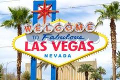 Välkomnande till sagolika Las Vegas, Nevada tecken Royaltyfri Bild