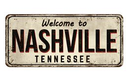 Välkomnande till tecknet för metall för Nashville tappning det rostiga vektor illustrationer